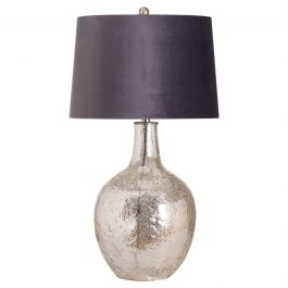 Lucie Table Lamp With Grey Velvet Shade