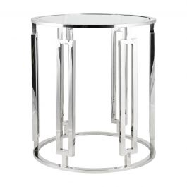Ovada Clear Glass Side Table With Silver Frame