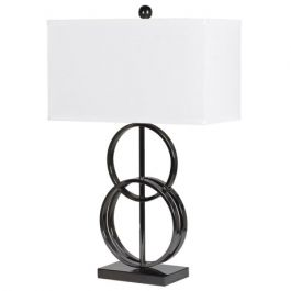 Metal Dual Ring Lamp with Linen Shade