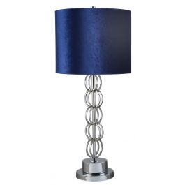 Chrome Metal Circles Medium Table Lamp With Blue Shade
