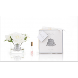 Rose Bouquet White Glass