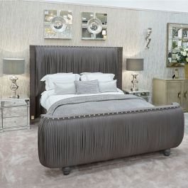 The Monte Carlo Bed Dark Grey Silk Bed