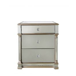 Louis Three Drawer Mirror Gold Cabinet