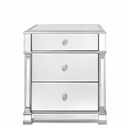 The Louis Three Drawer Mirror Silver Bedside
