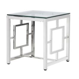 Toronto Steel Square End Table With Glass Top