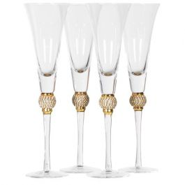 Gold Crystal Ball Champagne Glasses Set of 4