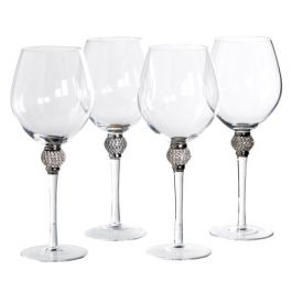 Silver Crystal Red Wine Glasses Set of 4
