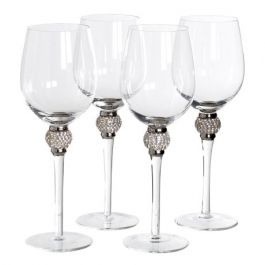 Silver Crystal White Wine Glasses Set of 4