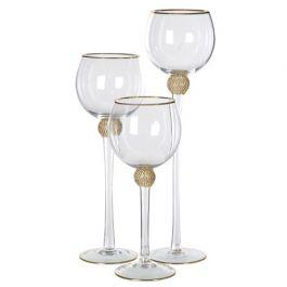 Candleholders Gold Diamante Set Of 3