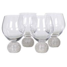 Silver Diamante Gin Glasses Set of 4