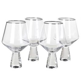 Silver Rim Wine Glass Set
