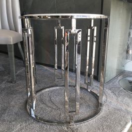 Ovada White Marble Top Side Table With Silver Frame