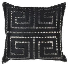 Greek Pattern Black Cushion 45x45