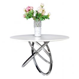 Caria 130cm White Round Marble Dining Table