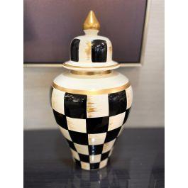 Gold & Black Chequered Jar Medium