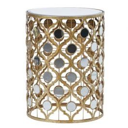 Mirrored Gold Cylindrical Lamp Table