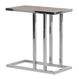 Parquet & Chrome Sofa Table