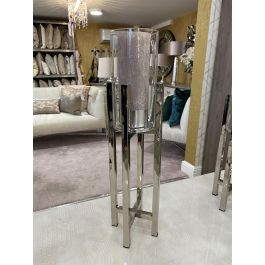 Silver Cross Stand Candle Holder With Glass Top - Large