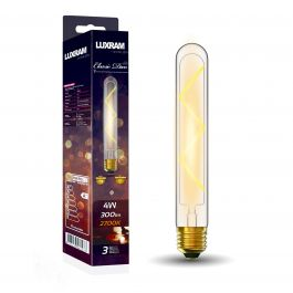 Classic Deco LED 185mm Tubular E27 Dimmable 4w Warm White Clear Glass Bulb