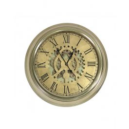 Gold Gears Wall Clock With Roman Numerals