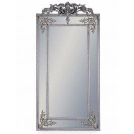 Silver French Wall Mirror With Crest