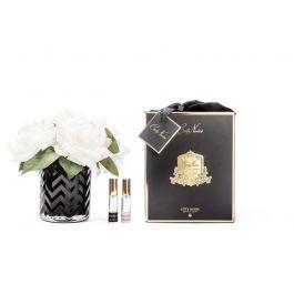HERRINGBONE FLOWER BLACK - BLUSH ROSES