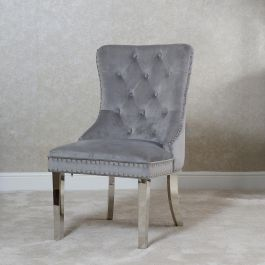 Chloe Button Back Dining Chair Silver