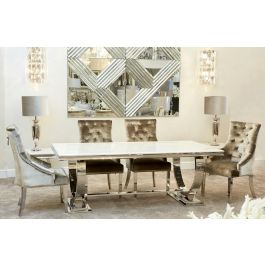 Alma Ivory 200cm Dining Table And 6 Chairs