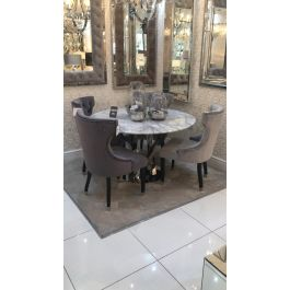 Oxford Marble Dining Table & 4 Silver Camilla