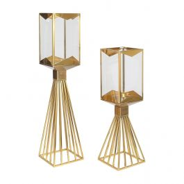 Gold Square Candle Holder - Small