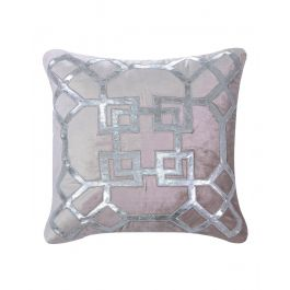 Geometric Silver And Pink Velvet Cushion 50X50