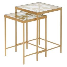 Set of 2 Gold Butterfly Tables