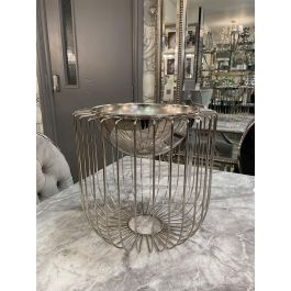 Round Silver Caged Vase Small