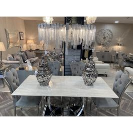 HARLEY CREAM DINING TABLE 180CM & 6 CHAIRS