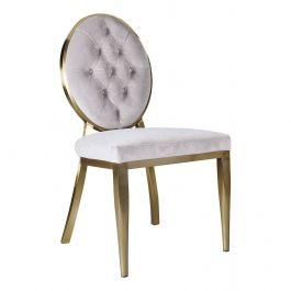 CLARA - Button Round Chair - Light Mink