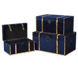 Blue Velvet Trunks Set of 3
