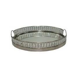 Oval Nickel And Mirror Tray With Crystals
