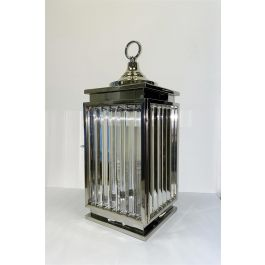 Silver Crystal Efect Glass Lantern - Medium
