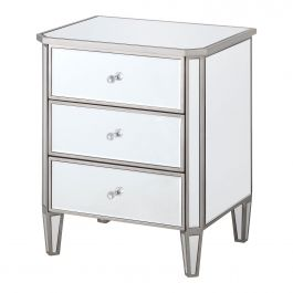Fairmont Silver 3 Drawer Bedside
