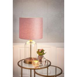 Bouala Glass Antique Bronze Pink Shade Table Lamp
