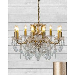 8 BRANCH BRUSHED GOLD SHALLOW GLASS CHANDELIER