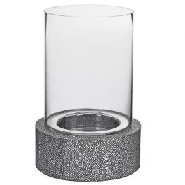 Faux Shagreen Leather Candle Holder
