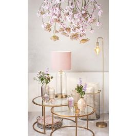 Bouala Glass Antique Bronze Velours light pink Table Lamp