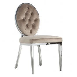 CLARA - Button Round Chair - Mink