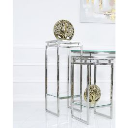 Stainless Steel And Glass Stand Medium