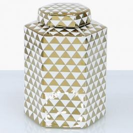 Triangle White & Gold Jar Medium