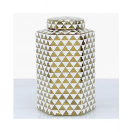 Triangle White & Gold Jar Large