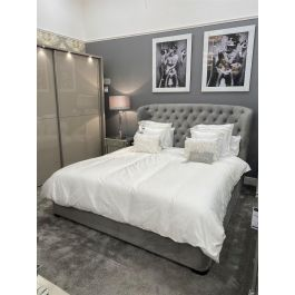 London King Size Ottoman Bed Silver