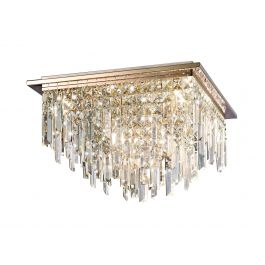 The Rafferty Ceiling Square 6 Light Rose Gold And Crystal