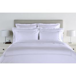 300TC Sateen Stripe White Double Duvet Cover